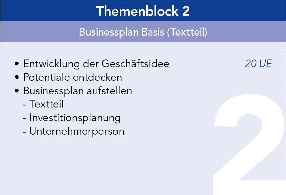 Gründercoaching Themenblock 2 Businessplan Basis (Textteil)