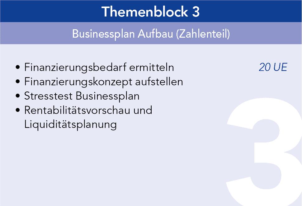 Gründercoaching Themenblock 3 Businessplan Aufbau (Zahlenteil)