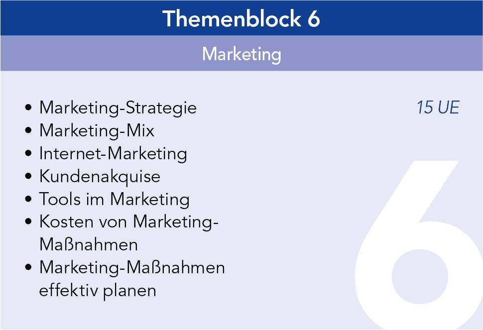 Gründercoaching Themenblock 6 Marketing
